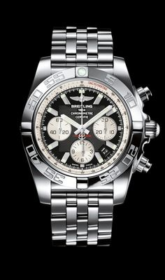 Chronomat 44 diver's watch by Breitling - Steel case, onyx black dial with steel Pilot bracelet.