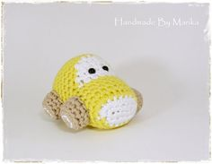 Amigurumi Car Baby Toy Rattle - organic cotton - yellow and beige