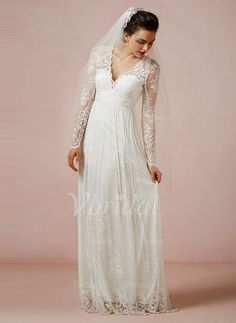 Wedding Dresses - $189.84 - A-Line/Princess V-neck Floor-Length Chiffon Tulle Lace Wedding Dress (00205003267)