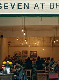Open air seating at Seven at Brixton. Air Seat, Spanish Desserts, Brixton, Blue Cheese, Churros, Food Menu, Charcuterie, Ny Times, Tapas