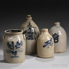 Three Cobalt-decorated Stoneware Jugs and a Jar, America, late century, a three-gallon jug decorated with a styl. on Mar 2013 Stoneware Crocks, Antique Stoneware, Antique Pottery, Pottery Art, Antique Decor, Pottery Ideas, Antique Crocks, Old Crocks, Jars For Sale