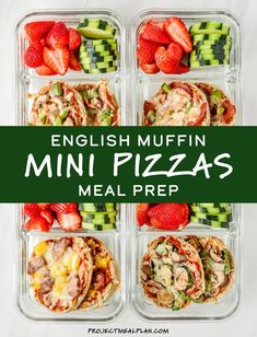 English Muffin Mini Pizzas Meal Prep Personal pizza meets meal prep for this easy cold lunch idea! Customize these English Muffin Mini Pizzas with your favorite toppings, then eat them cold or reheated during the week! prep for the week Easy Meal Prep Lunches, Work Meals, Prepped Lunches, Meal Prep Bowls, Easy Meals, Prep Lunch Ideas, Weekly Lunch Meal Prep, Week Lunch Prep, Make Ahead Lunches