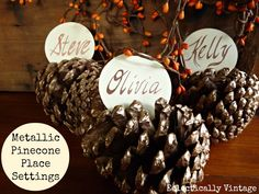DIY Metallic Pinecone Place Settings - perfect for your fall or winter table