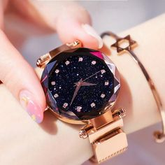 New brand Starry Sky Watch Fashion Elegant Magnet Buckle Vibrato Purple Gold Ladies Wristwatch Watches - BeFashionova Rose Gold Watches, Diamond Watches, Mesh Band, Swiss Army Watches, Moda Casual, Beautiful Watches, Purple Gold, Quartz Watch, Fashion Watches