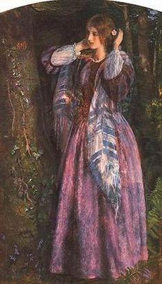 Arthur Hughes Pre-Raphaelite painter, 1832 - The Long Engagement - Amy (a Study), oil on canvas, x cm. Birmingham Museum and Art Gallery, UK Dante Gabriel Rossetti, Pre Raphaelite Paintings, John Everett Millais, Birmingham Museum, Birmingham Art, Long Engagement, Pre Raphaelite Brotherhood, Mystique, Victorian Art