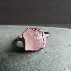 RESERVED Morganite Ring Natural Organic Raw by MidwestAlchemy, $75.50