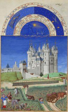 Très Riches Heures du Duc de Berry, septembre : château de Saumur, vendanges (frères Limbourg, château de Chantilly)