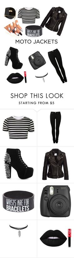 """""""Kishonna style for Motto jackets"""" by kishonna-boyce ❤ liked on Polyvore featuring Topshop, MM6 Maison Margiela, Jeffrey Campbell, Anine Bing, Fujifilm, Lime Crime and Chloé"""