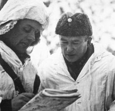 Finnish Army Colonel Hjalmar Siilasvuo receiving a briefing during the Battle of Suomussalmi, Finland, Dec 1939-Jan 1940
