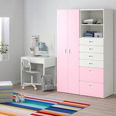 schubladenschrank rosa - Suchen - IKEA Wardrobe Furniture, Shelf Furniture, Furniture Design, 80s Furniture, Pink Wardrobe, Wardrobe Design, E Room, Kids Room, Ikea Stuva