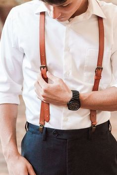 Genuine Leather Suspenders / Groomsman Wedding Suspenders in Yellow Brown