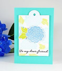 Beautiful handmade greeting card for summer! Featuring the NEW Dear Friend stamp and die sets. Check out our Instagram today (6/23/17) for a chance to get this stamp set, for FREE! #cas #diy #stamping #handstamped #papercrafts #cardideas #amusestudio