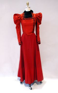 1892-1894 red wool day dress.