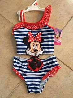 girls #disney mickey mouse minnie 2pc red white & blue swimsuit sz 4t new from $3.99