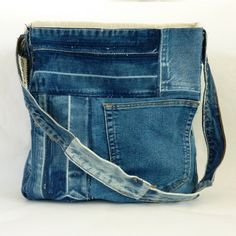 Recycled Denim Tote Bag by EmmeliWorks on Etsy, $47.00