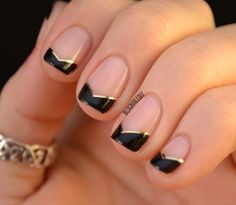 Perfect for date night, this dramatic design only requires metallic striping tape and shiny black polish. For more fun, try a bright color. Get the tutorial from Nailed It! »