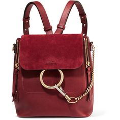 Chloé Faye small leather and suede backpack (€1.650) ❤ liked on Polyvore featuring bags, backpacks, burgundy, leather daypack, leather rucksack, red leather bag, day pack backpack and burgundy leather bag