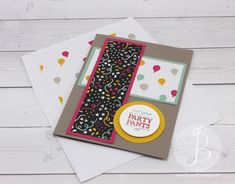 PPA296 Tip Top Taupe card base, melon mambo, crushed curry, mint macaron, Put on your Party Pants stamp set, It's My Party DSP