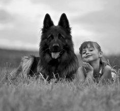 #German #Shepherd and girl