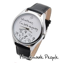 Whatever, I'm late anyway BIG (White/Black Wrist Watch Face) - Mens and Womens Wrist Watch, Massive Silver Watch Case - Free shipping on Etsy, $60.00