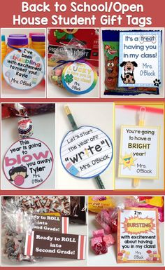 Use this set of cute and colorful student gift tags to easily create memorable back to school, Meet the Teacher, or Open House gifts for your students. Simply print and attach to trinkets such as bubbles, Blow Pops, Starburst, cookies, pencils, crayons, etc. Includes 15 different designs https://www.teacherspayteachers.com/Product/Back-to-School-Open-House-Meet-the-Teacher-Student-Gift-Tags-Set-of-15-2645627