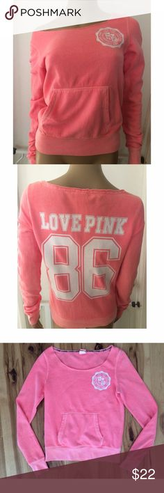 """PINK VS Love Pink Logo Slouchy Sweater Still in good condition Slouchy neon pink sweater from PINK Victoria's Secret in size x-small. No marks or stains as far as I can see. Measure about 22"""" length, 17"""" pit to pit, 26.5"""" sleeves. ❌No trades or modeling. Open to reasonable offers. Thank you‼️ PINK Victoria's Secret Sweaters Crew & Scoop Necks"""