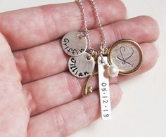 Mothers Personalized Name Initial Date by RiverValleyJewelry, $68.00