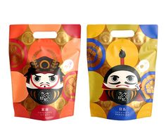 Rice Cracker / さくさく日記 家康 & 信長  Not sure whether this is meant to appeal or scare me IMPDO. Rice Packaging, Foil Packaging, Pretty Packaging, Japan Package, Japanese Packaging, Japan Logo, Avatar Characters, Bottle Box, Korean Art