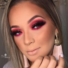 Glam Makeup Look, Makeup Eye Looks, Creative Makeup Looks, Red Makeup, Colorful Eye Makeup, Eyeshadow Makeup, Natural Summer Makeup, Huda Beauty Makeup, Baddie Makeup