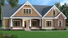 House Plan 009-00072 - Approximately 1,946 square feet of space offering a split 3bedrooms/2 bath plan with open layout highlight this Craftsman Cottage house design. The exterior facade is simple and beautiful w/decorative gables, open arches highlighting the covered porch and the combination of shakes and brickwork. Great for a growing and/or large family, the plan includes extensive expansion space on the optional second level and unfinished basement foundation.