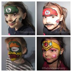 Super Mario. Mario bowser princess peach face paint