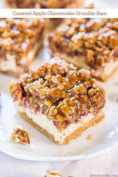 Caramel Apple Cheesecake Crumble Bars - Move over apple pie! These are an apple pie, apple crumble and cheesecake all in one! YUM!
