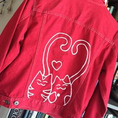 HOST PICK!  Red Denim Jacket With Sweet Kitties A red Liz Claiborne denim jacket, hand-painted with two cute kittens in love. Acrylic embellishment has been heat-set. Size medium. Host pick for the Style Obsessions party 8\7\15 ✨ Liz Claiborne Jackets & Coats Jean Jackets