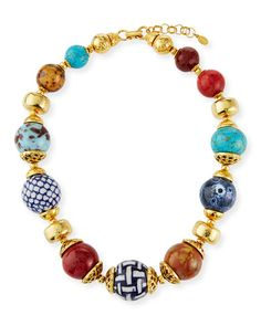 Jose & Maria Barrera Short Ceramic Necklace In Multi Rolex Blue, Multi Coloured Shorts, Ceramic Necklace, Chandelier Earrings, Stones And Crystals, Clip On Earrings, Women Accessories, Fashion Jewelry, Beaded Bracelets