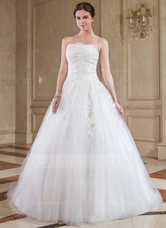 Wedding Dresses - $176.99 - Ball-Gown Strapless Chapel Train Tulle Wedding Dress With Lace (002012053) http://jjshouse.com/Ball-Gown-Strapless-Chapel-Train-Tulle-Wedding-Dress-With-Lace-002012053-g12053