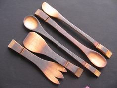 I love wine barrel staves! Reclaimed oak serving spoons by Marilyn for…