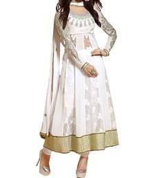 Buy White embroidered georgette semi stitched salwar with dupatta anarkali-salwar-kameez online