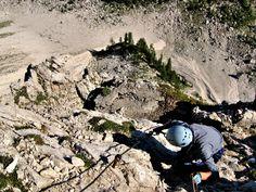 The most attractive ferrata trails leads through very steep north face of Mt. Mala Mojstrovka - Slovenia