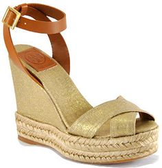 ShopStyle: Tory Burch - Fabian - Gold Linen Criss-Cross Espadrille Wedge
