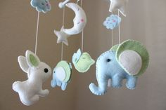 Custom felt baby mobiles- you pick the colors. CUTE.