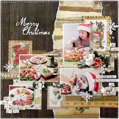 Merry Christmas - Scrapbook.com - Made with Bo Bunny's Christmas collage collection.