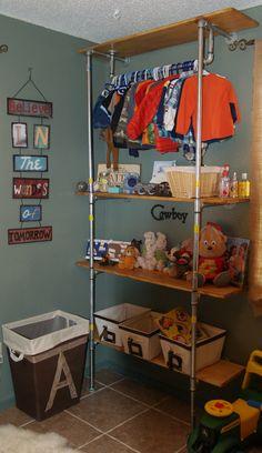 Shelves built from plumbing pipe. So easy.