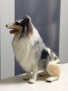 "Needle felted my rough collie ""Nardi"" made by my friend in progress on 5 Oct. '13"
