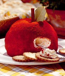 apple cheese ball. This is a family favorite. quick easy and if not dressed up like and apple or a Christmas ornament ( with a reeses cup on top) we like it just to snack on! #TeacherGift