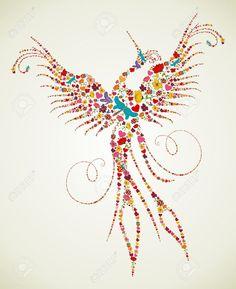 Flor De Primavera Y Textura Mariposa Iconos En Ave Fénix Silueta Ilustración De…