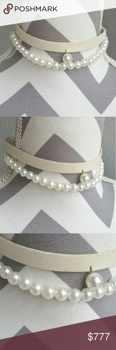 Suede and Pearls Choker Brand new!! Brand new!! Cream faux suede and faux pearl choker. Pair with any outfit for an edgy on-trend look!  Listing is for 1 cream/pearl choker, More colors in my closet.   💖Shop with confidence💖💖 🎉🎊Suggested User🎊🎉 📮💌Same day shipping📮💌 5🌟🌟🌟🌟🌟 star rated closet 👍👍Top seller👍👍 Jewelry Necklaces