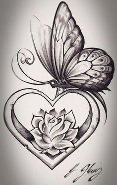 Pencil Art Drawings, Love Drawings, Art Drawings Sketches, Tattoo Sketches, Tattoo Drawings, Beautiful Drawings Of Flowers, Drawings Of Hearts, Drawings Of Butterflies, Heart Pencil Drawing