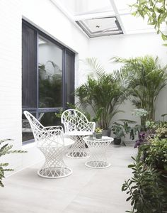 Basement patio, Beijing project, fibreglass garden chairs