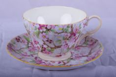 "Vintage SHELLEY Cup & Saucer, ""Maytime Chintz"" pattern - 13452, ""Henley"" shape"