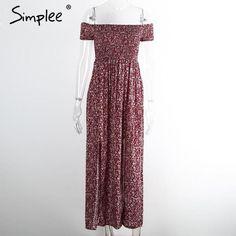 Womens Sexy Side Split Off Shoulder Print Summer High Waist Dress